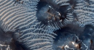 Blue Ripples In Martian Sand Dunes